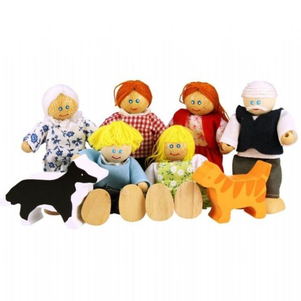 Dolls House Family and Pets in Wood. 3+